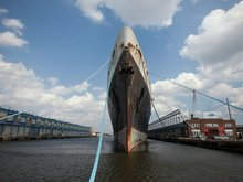 A historic U.S. supership - which is longer than three football fields - is sending out its last S.O.S.