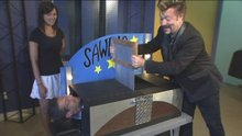 Magician Kieth Jozsef saws Tim in half!