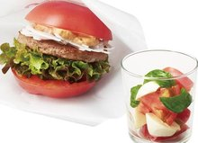 Japanese Burger Chain Replaces Buns With Tomato Halves