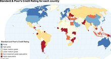 World map of S&P credit ratings