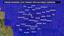 Freezing temperatures expected overnight into Saturday