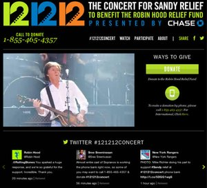 Social media notes on the 12-12-12 Concert