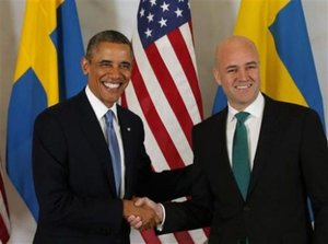 Sweden | Fredrik Reinfeldt hosts bilteral talks with Barack Obama in Rosenbad